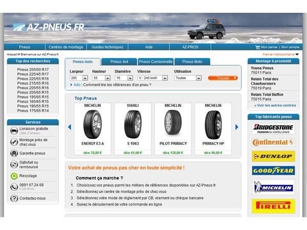 AZ-Pneus le professionnel du pneu sur Internet