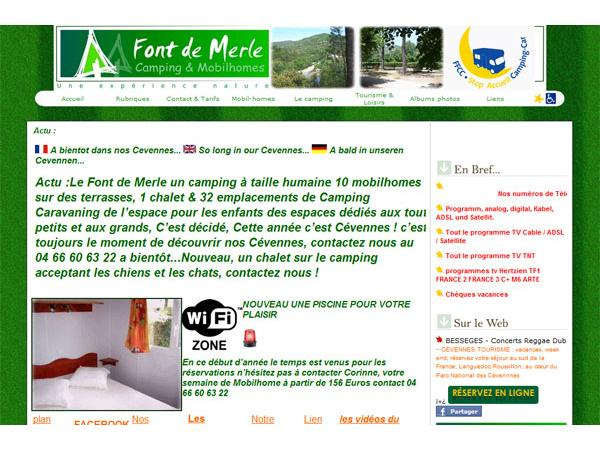Camping caravaning location de mobilhomes en cévennes Font de Merle