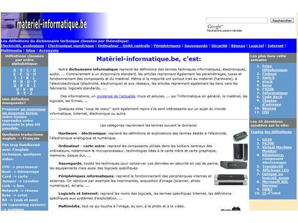 Dictionnaire matériel informatique