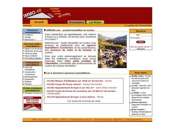 Immo48 : Portail de l'immobilier en Lozère