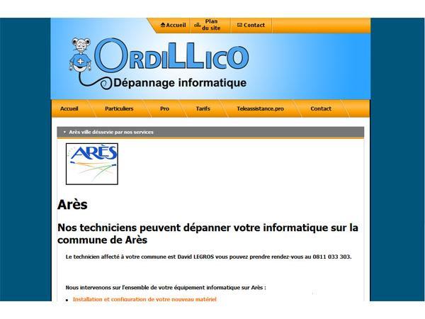 Arès dépannage informatique Ordillico