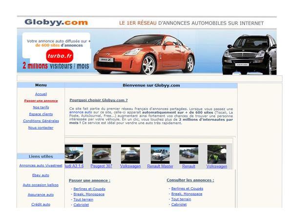 Annonces auto Globyy: passer une annonce auto sur 600 sites