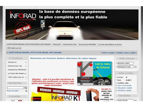 avertisseur de radars sur www.presence-radars.com