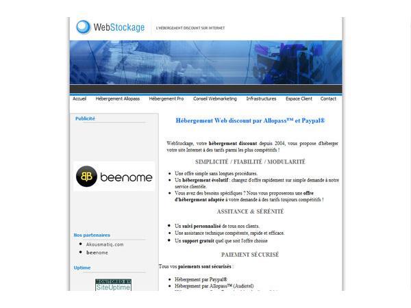 Webstockage : hébergement discount