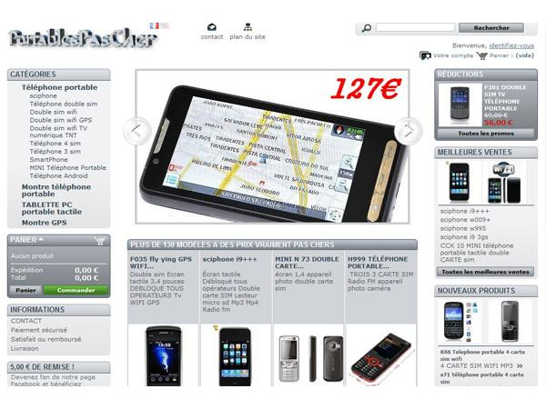 PortablesPasCher, téléphone portable  double SIM, TV, wifi